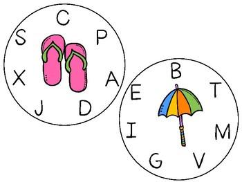 Bitty Bingo Wheels - At the Beach/Letters