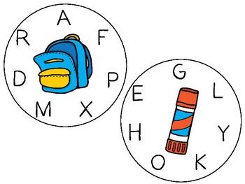 Bitty Bingo Wheels - Back to School/Letters