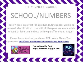 Bitty Bingo Wheels - Back to School/Numbers