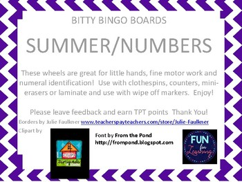Bitty Bingo Wheels - At the Beach/Numbers