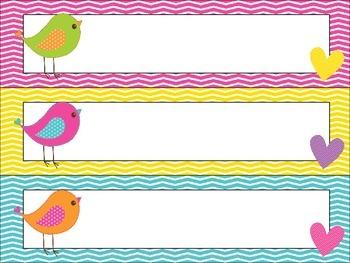Bitty Birdies Pocket Chart Schedule Cards