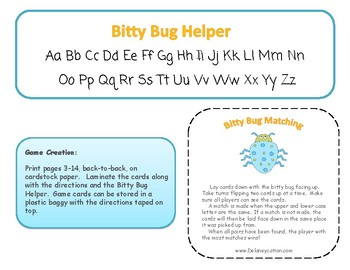 Bitty Bug Matching Game - Upper & Lower Case Letters
