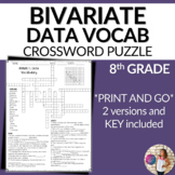 Bivariate Data Scatter plots Two-Way Tables Vocabulary Mat