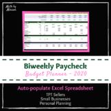 Biweekly Budget Planner Autofill Excel Spreadsheet 2020
