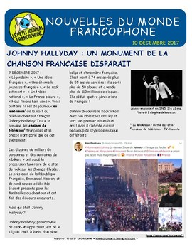 Biweekly news summaries for French students: December 10, 2017