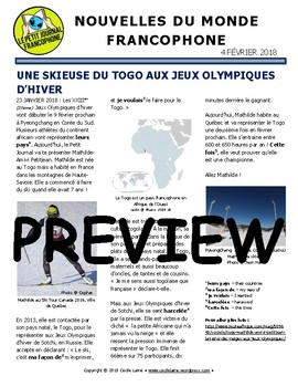 Biweekly news summaries for French students: February 4, 2018