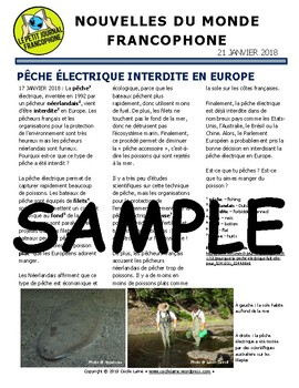 Biweekly news summaries for French students: Janvier 21, 2018
