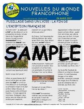 Biweekly news summaries for French students: March 26, 2017