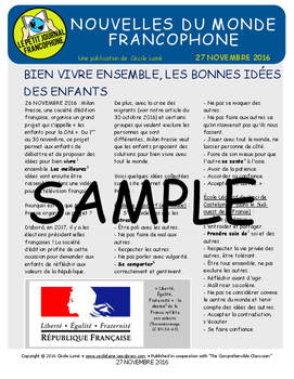 Biweekly news summaries for French students: November 27, 2016