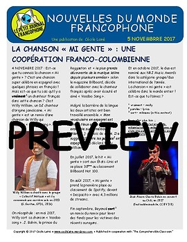 Biweekly news summaries for French students: November 5, 2017