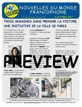 Biweekly news summaries for French students: October 8, 2017