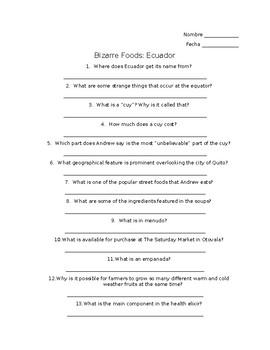 Bizarre Foods Ecuador Viewing Guide