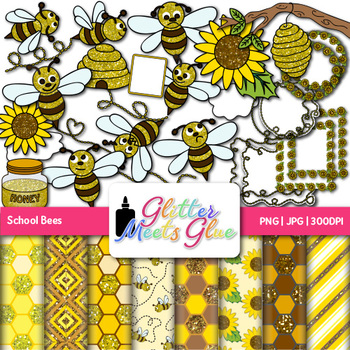 Bizzy Bees Clip Art {Scrapbook Paper, Frames, & Page Borders for Back to School}