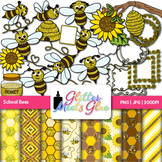 School Bees Clip Art | Scrapbook Paper, Frames, Page Borders for Back to School