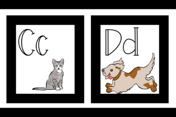 Black ABC Flash Card Printables with Animals!