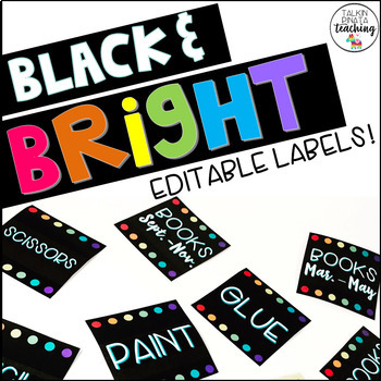 Black And Bright Square Labels- EDITABLE