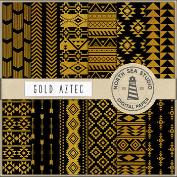 Black And Gold Aztec Papers, Gold Patterns