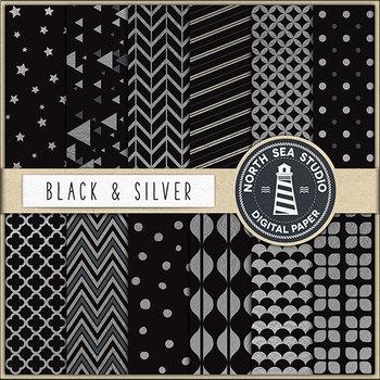 Black And Silver Digital Paper, Silver Patterns, Black Backgrounds