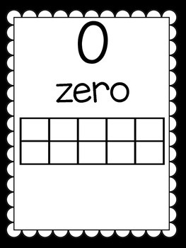 Black And White Chevron Ten Frame Number Posters