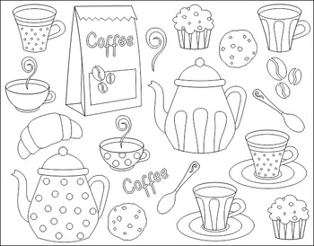 Black And White Coffee Time Digital Clip Art Set - Pot, Cup, Cookies, Cupcake