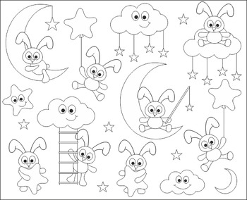 Black And White Sweet Dreams Cute Bunnies Clip Art - Good Night Bunnies