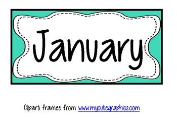 Black & Aqua/Teal Months of the School Year