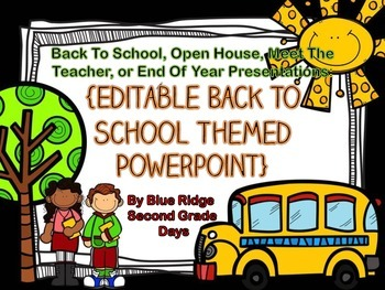 Black Back To School, Meet The Teacher, End Of Year, Editable Powerpoint