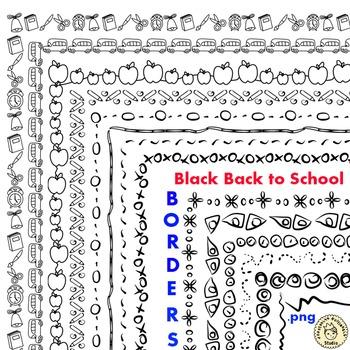 Black Back to School Borders