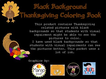 Black Background Thanksgiving Coloring Book
