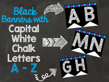 Black Banners Chalkboard Letters