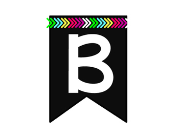 Black Banners- EVERY Letter- Bright Colors OR Black and White