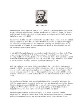 Black Bart Article and Assignment