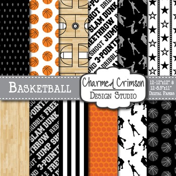 Black Basketball Digital Paper 1287