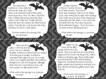 Black Bats and Black Cats: Halloween Folklore Non-Fiction Task Cards
