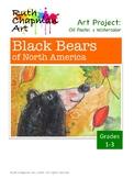 Black Bears in Oil Pastel + Watercolor Art Lesson for Grades 1-3