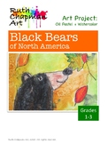 Black Bears in Oil Pastel + Watercolor Art Lesson for Grades 1-3