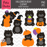 Black Bears with Pumpkins Clipart, Halloween Clipart - Fall142