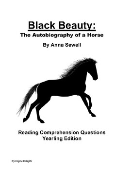 Black Beauty Yearling Edition Comprehension Questions and Book Test