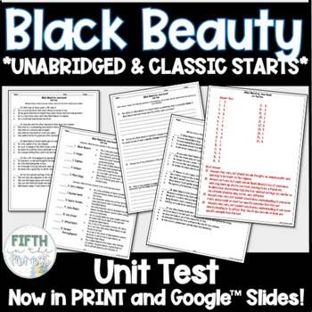 Black Beauty Novel Study BUNDLE discussion guide student journal and test