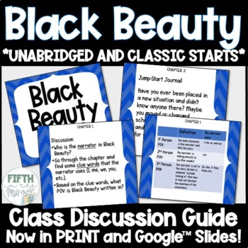 Black Beauty Novel Study NO PREP Class Discussion Guide