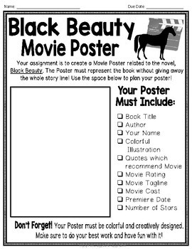 Black Beauty Project: Make a Movie Poster! {Black Beauty Book Report}