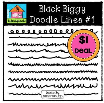 Black Biggy Doodle Lines {P4 Clips Trioriginals Digital Clipart}