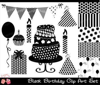 Black Birthday Clipart Set, Black Silhouettes Birthday Party