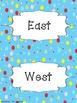 Black & Blue Colorful Polka Dot Cardinal Directions