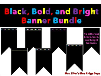 Black and Bright Chalkboard Banner Bundle - 15 different Bold Banners