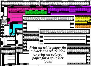 Black&Bold Desk Nameplates with cursive and print alphabet strips!