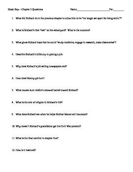 black boy quizzes w answer key and all chapter questions 1 14 rh teacherspayteachers com Sample of a Study Guide Winter Dreams Study Guide Answers