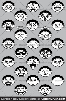 Black Boy Emoji Clipart Faces / African Boy Kids Emojis Emotions Expressions