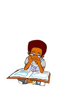 Black Boy Reading Clip Art
