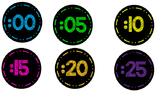 Black & Bright Clock Numbers & Phrases